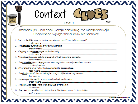 math worksheet : context clues packet using tier vocabulary  speech peeps : Multiple Choice Context Clues Worksheets